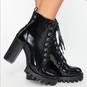Fashion nova heeled combat boots WORN ONCE